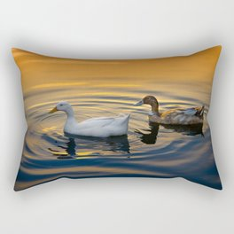 White And Brown Ducks Rectangular Pillow