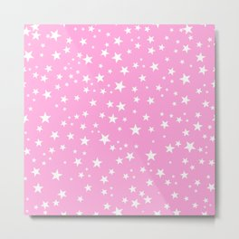 Space and stars pink background Metal Print
