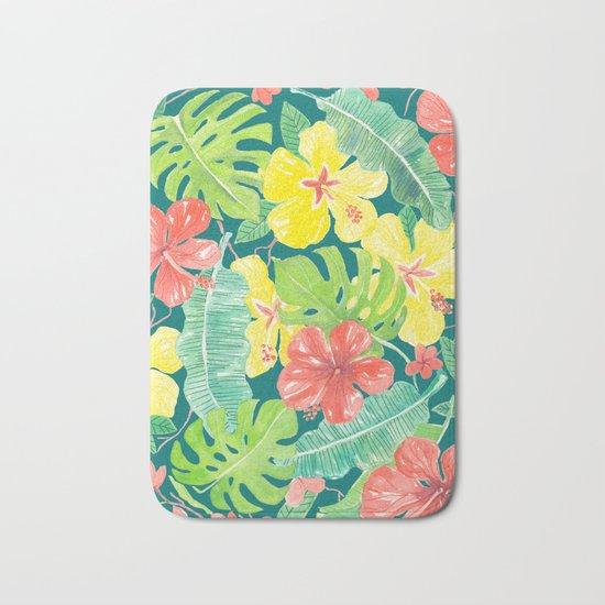 Tropical garden, hibiscus plumeria and palm leaves Bath Mat