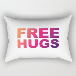 Free Hugs Typography - Minimal - Graphic Design Orange, Pink, Purple Gradient Lettering  Rectangular Pillow