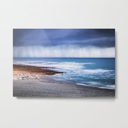 Rain at Sea Metal Print