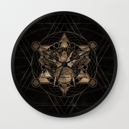 Bumble Bee in Sacred Geometry - Black and Gold Wall Clock