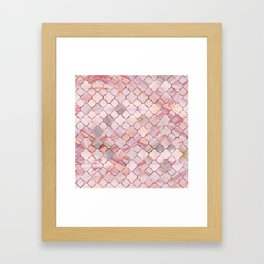 Moroccan Pattern in Marble and quartz crystal Texture Framed Art Print