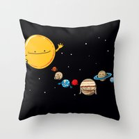 planets Throw Pillows featuring Planets by awkwardyeti