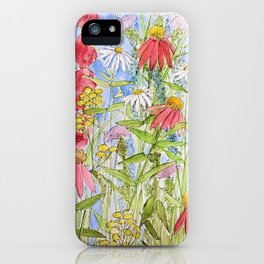 Watercolor Garden Flowers Summer Botanical Illustration iPhone Case
