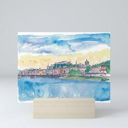 Salzburg Austria River Old Town and Castle Mini Art Print