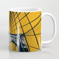 brooklyn bridge Mugs featuring BROOKLYN BRIDGE by Phillip Kauffman