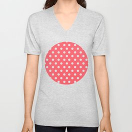 Coral Passion Thalertupfen White Pōlka Large Round Dots Pattern Unisex V-Neck
