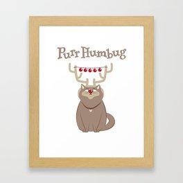 Purr Humbug. Not-So-Festive Cat. Framed Art Print