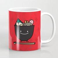 ramen Mugs featuring Happy Ramen Bowl by Berenice Limon