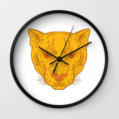 Cougar Mountain Lion Head Mono Line Wall Clock
