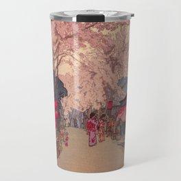 Avenue of Cherry Trees Hiroshi Yoshida Japanese Woodblock Prints Travel Mug