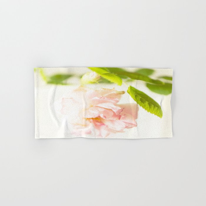 Romantic Soft Pink Rose On A White Background #decor #buyart #society6 Hand & Bath Towel