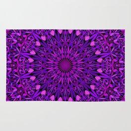 Purple Leaves Kaleidoscope Mandala Rug