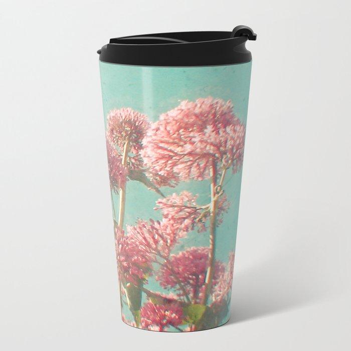 Pink Milkweed Metal Travel Mug