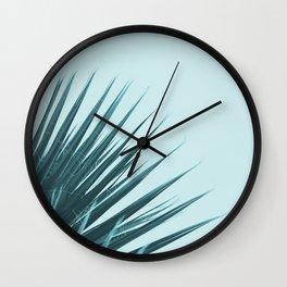 Blue Palm Leaf Wall Clock