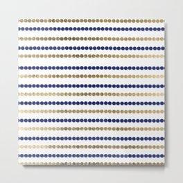 Elegant modern faux gold navy blue polka dots stripes Metal Print