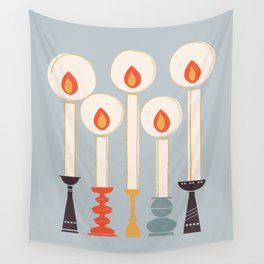 Festive Candles Wall Tapestry