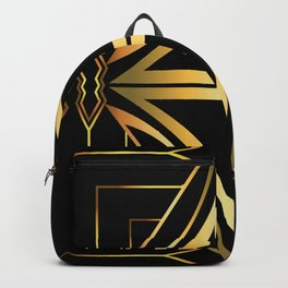 Black and Gold Colored Abstract Deco Artwork Backpack