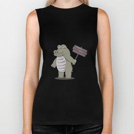 hippopotamus with happy hour sign Biker Tank