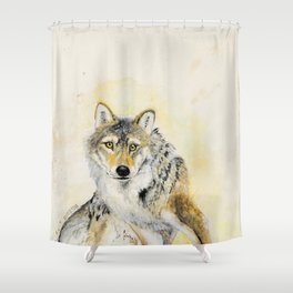 Totem Wolf: Gray wolf (c) 2017 Shower Curtain