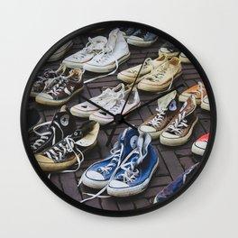Sneakers shoes at a flea market Wall Clock