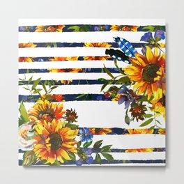 Yellow orange watercolor hand painted modern sunflowers stripes Metal Print