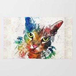 Colorful Cat Art by Sharon Cummings Rug