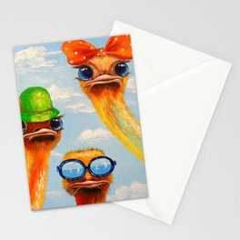 Ostriches friends Stationery Cards