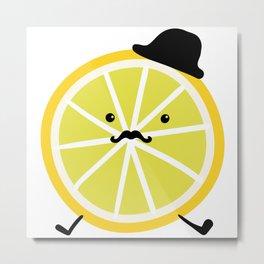 elegant lemon gentelman in hat  Metal Print