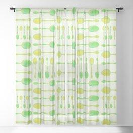 Unique Artsy Spoons! (Light Green) Sheer Curtain