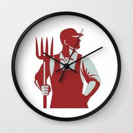Organic Farmer Pitchfork Retro Wall Clock
