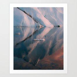 Minimalist Iceberg Reflection during sunset in the arctic Ocean  Art Print
