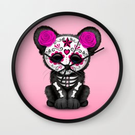 Pink Day of the Dead Sugar Skull Panther Cub Wall Clock