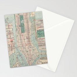New York City, Manhattan, Vintage Map Stationery Cards