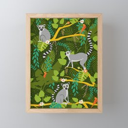 Lemurs in a Green Jungle Framed Mini Art Print