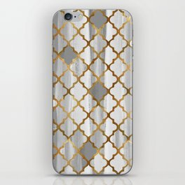 Moroccan Tile Pattern In Grey And Gold iPhone Skin