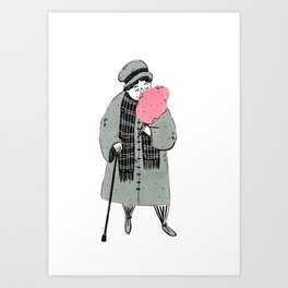 Old Woman Eating Cotton Candy Art Print