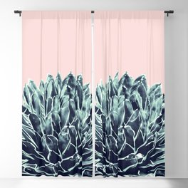 Blush Navy Blue Agave Chic #1 #succulent #decor #art #society6 Blackout Curtain
