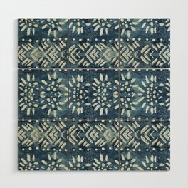 Vintage indigo inspired  flowers and lines Wood Wall Art