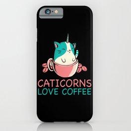 Caticorns Love Coffee iPhone Case