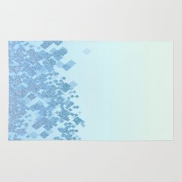 Light Aqua Blue Gradient Faux Glitter Diamonds Rug