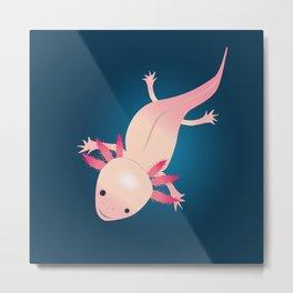 Axolotl in the water Metal Print