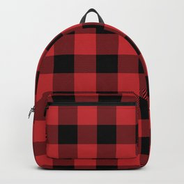 Red and Black Buffalo Plaid Lumberjack Rustic Backpack