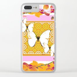 White Butterflies Orchid Sprays Purple Lilac-Gold Patterns Clear iPhone Case