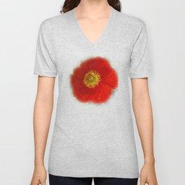 Red Poppy Unisex V-Neck