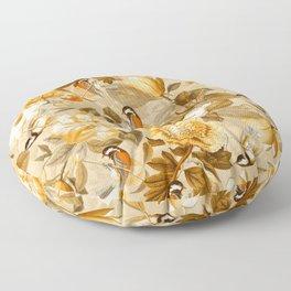 Vintage & Shabby Chic - Spring Sepia Birds Peonies Magnolia Botanical Garden  Floor Pillow