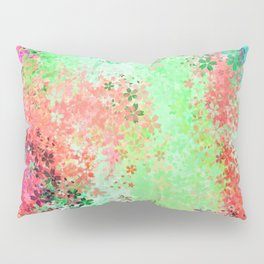 flower pattern abstract background in green pink purple blue Pillow Sham