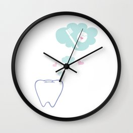 Tooth with Happy Thoughts Wall Clock