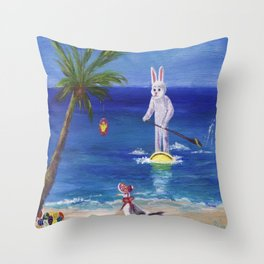 Easter Bunny at the Beach Throw Pillow